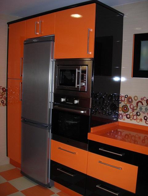 Cocinas - Cocinas naranjas y blancas ...