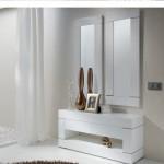 Consola  Blanca  Brillo  y  Doble  Espejo