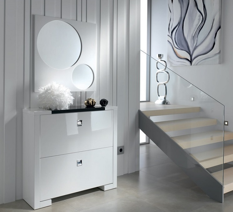 Mueble auxiliar for Zapatero lacado blanco