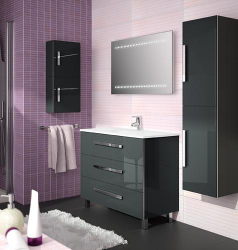 Muebles de baño en madera gris : Mueble ba?o gris brillo dikidu